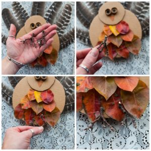 Use twigs for the turkey's feet.
