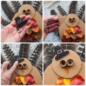 Create a hat for the turkey out of cardboard.