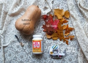 Materials needed to create Fall Leaf Squashes.