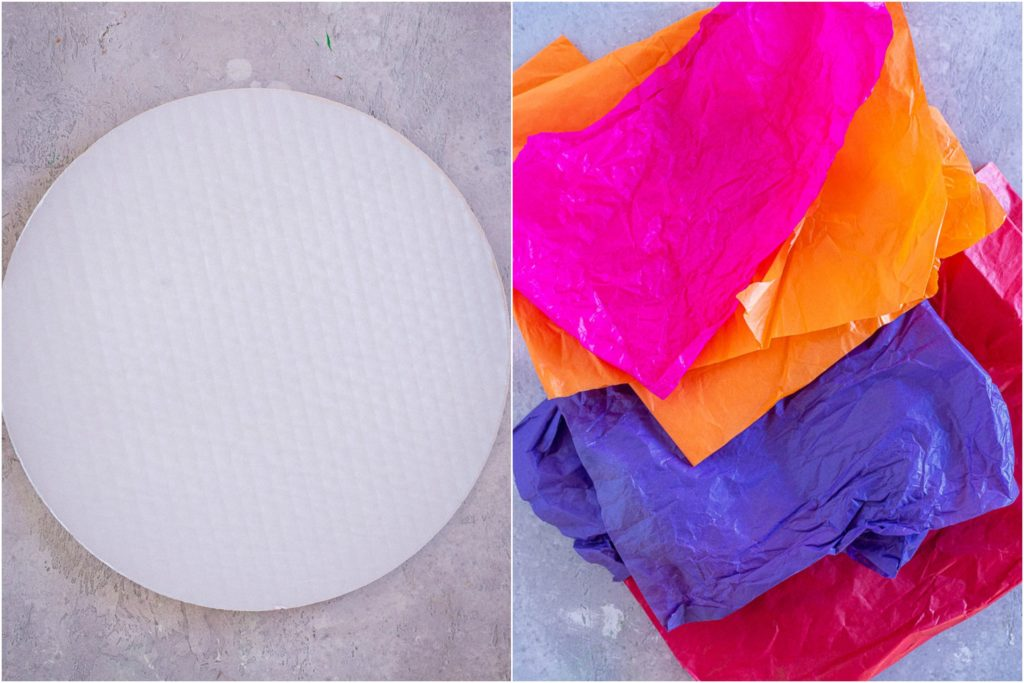 showing how to make a tissue paper sunset with the project materials