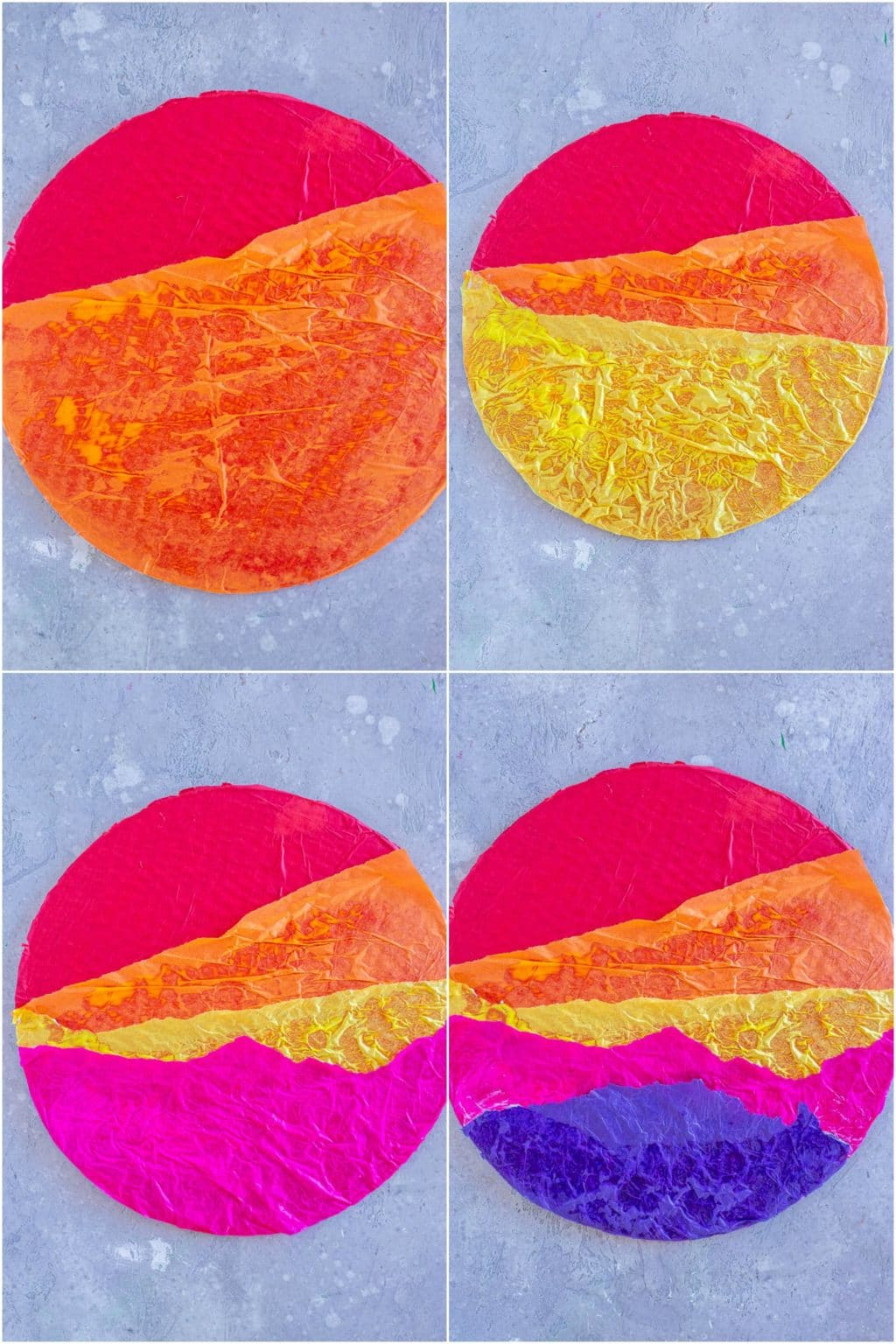showing how to make a tissue paper sunset craft