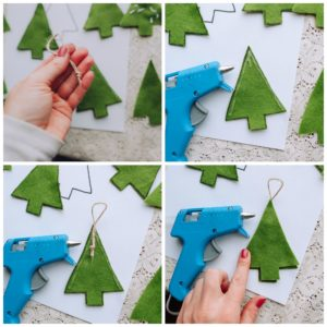 Add ornament hanger and glue the felt together.