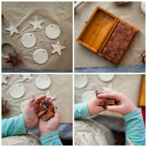 Child choosing alphabet stamps to create words on ornaments.