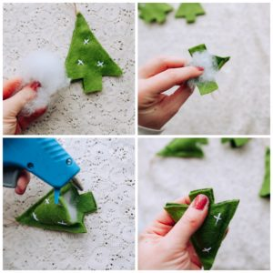 Add stuffing to ornaments.