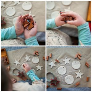 Child finishing clay ornaments.