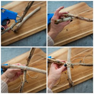 Glueing two sticks together to create a mobile base.