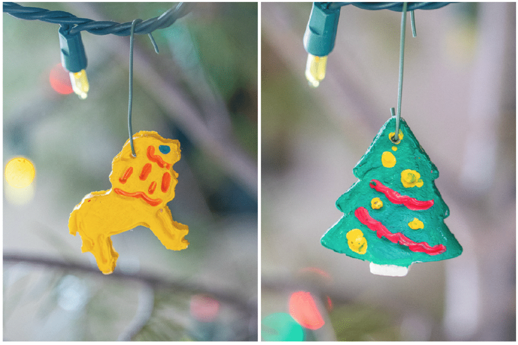 finished salt dough Christmas ornaments hanging on the tree