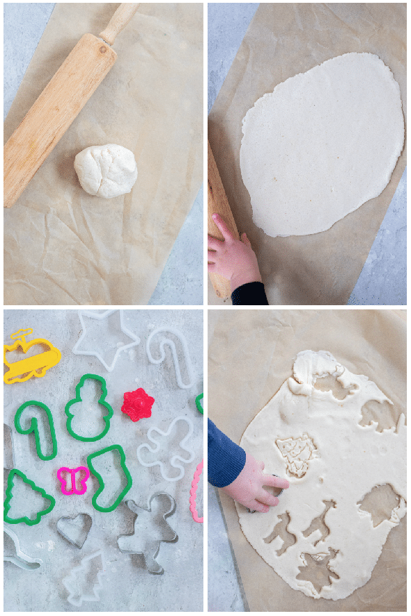 showing step by step how to make salt dough ornaments
