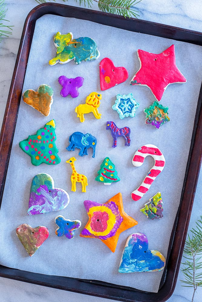tray of finished homemade Christmas ornaments