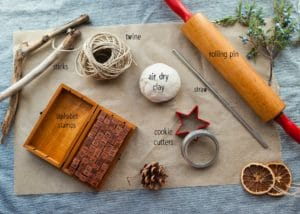 Materials needed to make a Christmas Mobile.