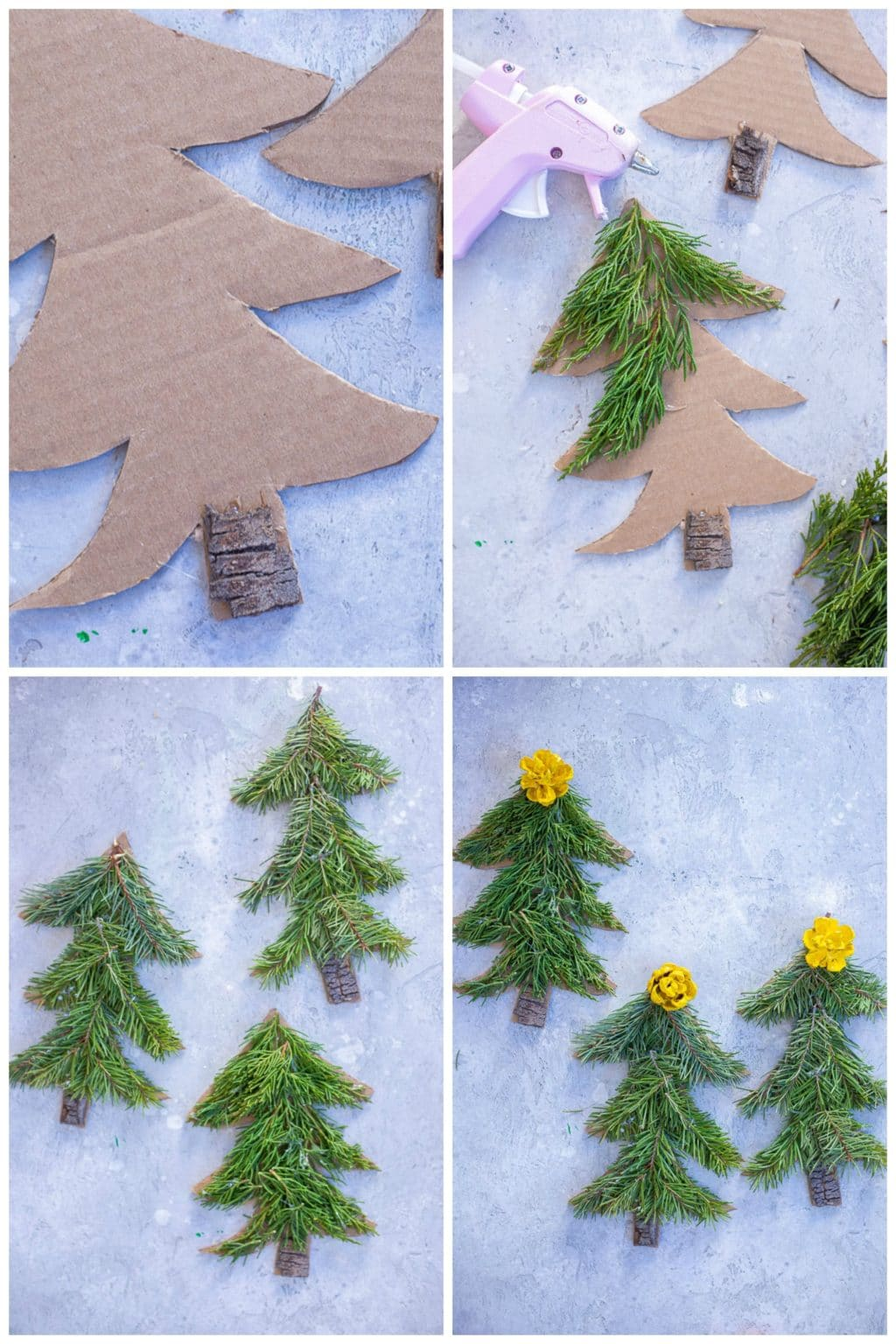 step by step photos showing how to make these Christmas tree crafts