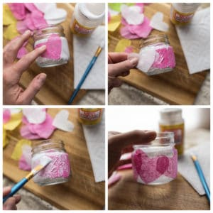 Add layer of tissue paper hearts and then seal with Mod Podge.