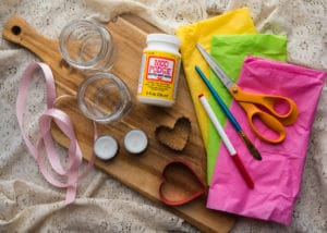 Supplies and materials needed to make Love Lanterns.