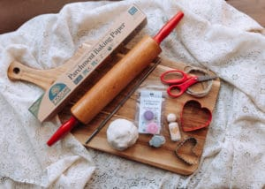 Materials needed to make Clay Hearts.