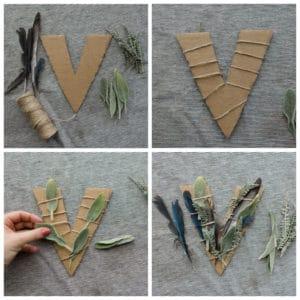 "Decorating the letter ""V"""