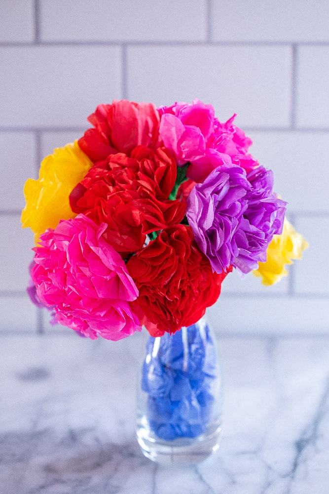 a bouquet of tissue paper roses