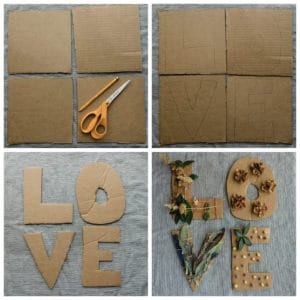 Cutting letters out of cardboard.