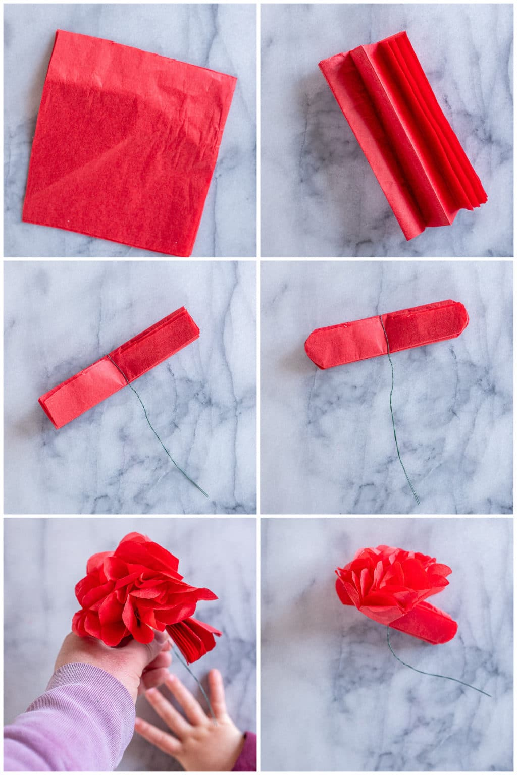 step by step directions on how to make tissue paper roses