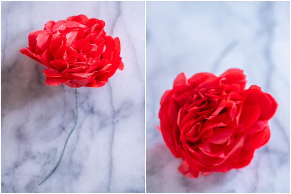 the finished rose from two different views
