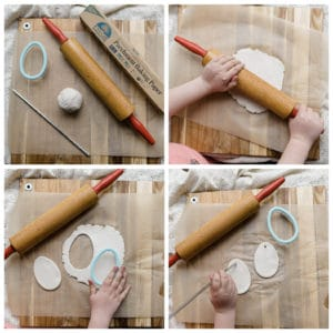 Roll out clay to cut out Easter egg shapes with cookie cutter.