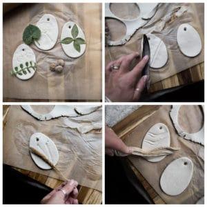 Pressing nature materials into clay.