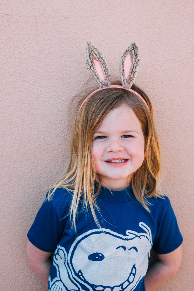 child wearing the easter bunny twig ears