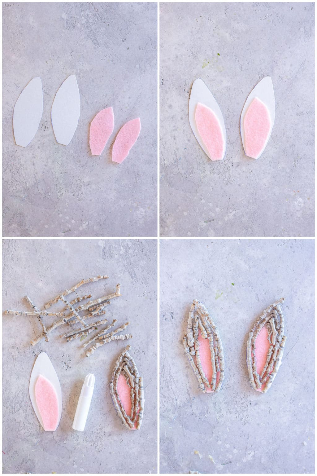 step by step instructions on how to make these Easter Bunny Twig Ears